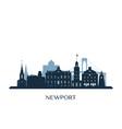 newport skyline monochrome silhouette vector image vector image