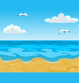 ocean beach waves and blue sky with white clouds vector image vector image