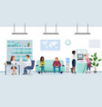 people in bank interior flat vector image vector image