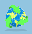 Recycling arrow symbol and planet Earth vector image vector image