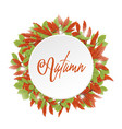 red and green leaves autumn with white circle vector image vector image