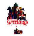 santa claus sits on chair giving gift vector image