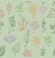 seamless pattern with thin line style floral icon vector image