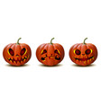 set halloween pumpkins in with different vector image