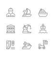 set line icons marine port vector image vector image