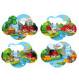 set of farm scenes vector image vector image