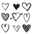 set of hand drawn hearts on white background vector image