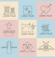 set sewing and needlework icons line style vector image