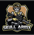 skull soldier mascot hold the assault riffle vector image vector image