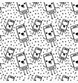 smartphone kawaii character pattern background vector image vector image