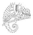 Steampunk style chameleon coloring book vector image vector image