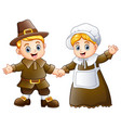 thanksgiving day of pilgrim couple waving vector image vector image
