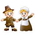 thanksgiving day of pilgrim couple waving vector image