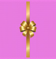 tied gold bow with ribbon in center of pink vector image