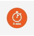 Timer sign icon 5 minutes stopwatch symbol vector image vector image