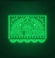 viva mexico neon sign decorative papel picado vector image