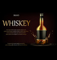 whiskey drink ads realistic glass whisky strong vector image