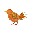 Wood Bird Relaxed Cartoon Wild Animal With Closed vector image