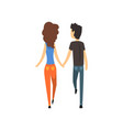 young man and woman characters walking holding vector image vector image