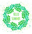 elegant floral wreath with green leaves and vector image