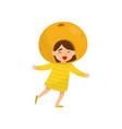 adorable little girl in fruit headwear orange vector image vector image
