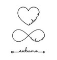 autumn - word with infinity symbol hand drawn vector image vector image