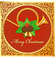 background Christmas card with horns bells leaves vector image