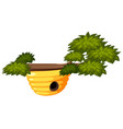 beehive on tree white background vector image