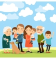 Big family and sky with clouds vector image