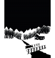 Black and white winter landscape with cottage in vector image