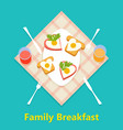 breakfast concept with food and drinks vector image