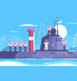 captain with crew on submarine vector image vector image