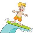 Cartoon boy surfing vector image vector image