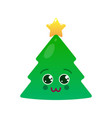 charming christmas tree isolated emoticon vector image vector image