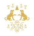 christmas card happy new year 2018 golden vector image vector image