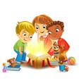 christmas miracle - kids opening a magic gift vector image vector image