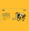 cinema festival movie time entertainment banner vector image