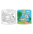 Coloring book of little funny dog Alphabet D vector image vector image