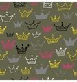 Crowns seamless pattern on pastel background vector image