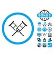 Crutches Flat Icon with Bonus vector image