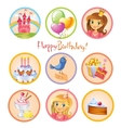 Cute birthday stickers vector image vector image