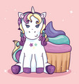 cute unicorn fantasy with delicious cupcake vector image vector image