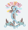 fashion spring vacation theme blue anchor vector image