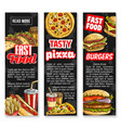 fast food lunch with drink banners vector image vector image
