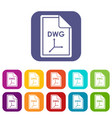 file dwg icons set vector image vector image