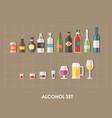 flat alcoholic set vector image