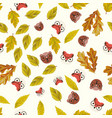 flat fox and bear with autumn leaves seamless vector image