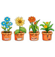 Four pots of flowers vector image vector image