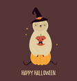 Funny sloth sitting on pumpkin halloween card