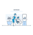 girl is engaged in washing cleaning in bathroom vector image vector image